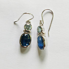 Blue Topaz & Kyanite Earrings Set in Sterling Silver