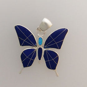 Lapis and Turquoise Butterfly Pendant Set in Sterling Silver