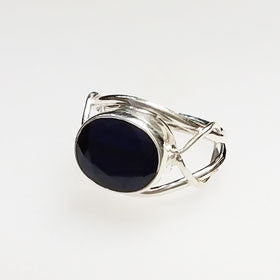 Blue Star Sapphire Oval Intertwined Sterling Silver Ring