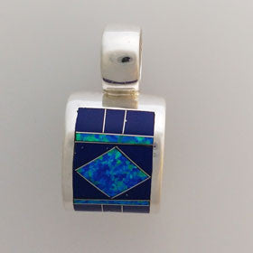 Lapis Native American Pendant Set in Sterling Silver