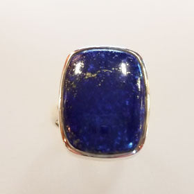 Lapis Large Rectangle Shaped Sterling Silver Ring