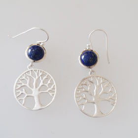 Lapis Tree of Life Sterling Silver Earrings