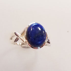 Blue Star Sapphire Twist Sterling Silver Ring