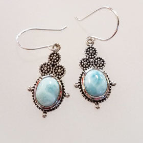 Larimar Balinese Drop Sterling Silver Earrings