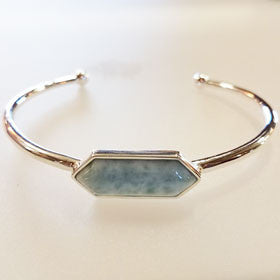 Larimar Hex Stone Sterling Silver Bangle Bracelet