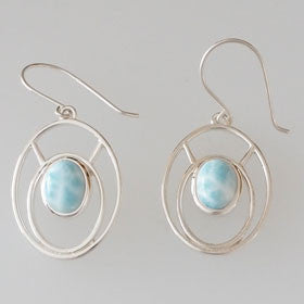 Larimar Ovals Earrings set in Sterling Silver