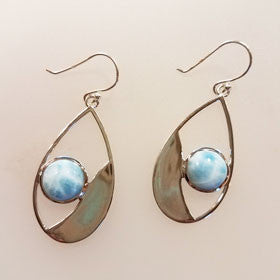 Larimar Flat Teardrop Earrings set in Sterling Silver