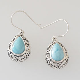 Larimar Filigree Teardrop Earrings set in Sterling Silver