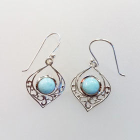 Larimar Filigree Heart Earrings set in Sterling Silver
