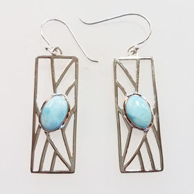 Larimar Rectangle Frame Earrings set in Sterling Silver
