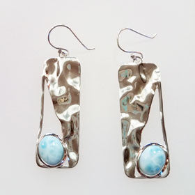 Larimar Long Hammered Earrings set in Sterling Silver