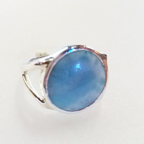 Larimar  Sterling Silver Round Ring