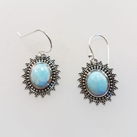 Larimar Balinese Earrings set in Sterling Silver