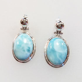 Larimar Large Oval Sterling Silver Post Earrings