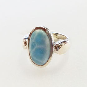 Larimar  Sterling Silver Oval Ring Large