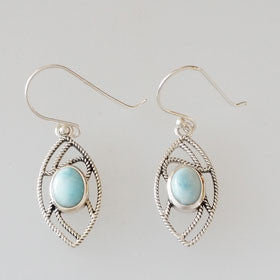 Larimar Eye Earrings set in Sterling Silver