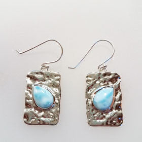Larimar Square Hammered Earrings set in Sterling Silver