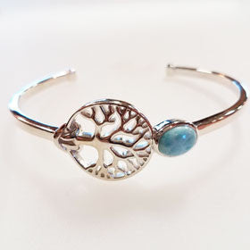 Larimar Sterling Silver Tree of Life Cuff Bracelet