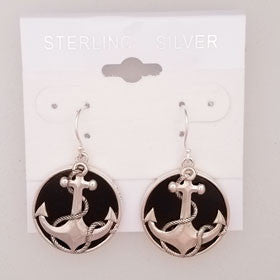 Lava Anchor Earrings Set in Sterling Silver