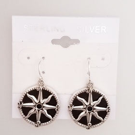 Lava Compass Rose Earrings Set in Sterling Silver