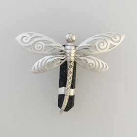Lava Crystal Dragonfly Pendant Set in Sterling Silver