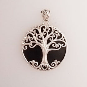 Lava Tree of Life Pendant Set in Sterling Silver