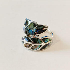 Abalone Leaf Ring Set in Sterling Silver