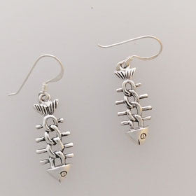 Sterling Silver Bonefish Chain Link Earrings