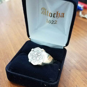 Atocha Sterling Silver Coin Replica Men's Ring
