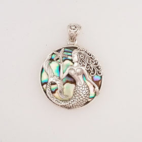 Abalone Mermaid & Starfish Pendant Set in Sterling Silver