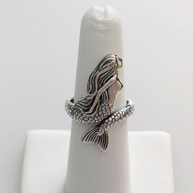 Sterling Silver Mermaid Profile Ring