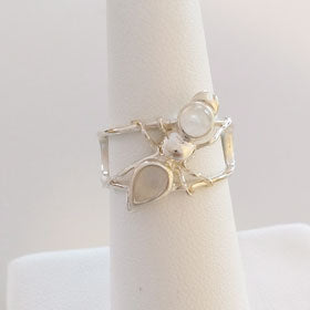 Rainbow Moonstone Ant Sterling Silver Ring
