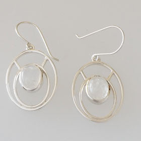 Moonstone Ovals Sterling Silver Earrings