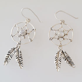Moonstone Dream Catcher Sterling Silver Earrings