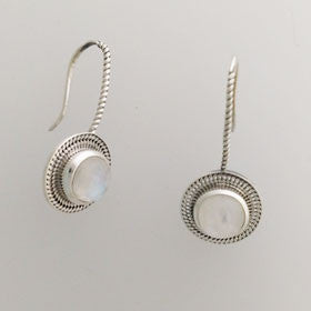 Moonstone Rope Drop Sterling Silver Earrings