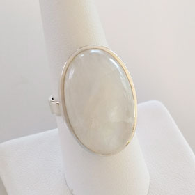 Rainbow Moonstone Large Oval Sterling Silver Ring