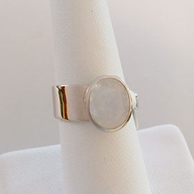 Rainbow Moonstone Round Adjustable  Band Sterling Silver Ring