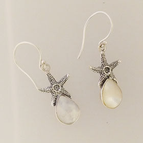 Mother of Pearl Starfish Earrings Set in Sterling Silver