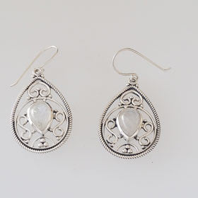 Moonstone Filigree Drop Sterling Silver Earrings