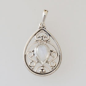 Moonstone Fligree Teardrop Sterling Silver Pendant