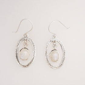 Moonstone Oval Frame Drop Sterling Silver Earrings