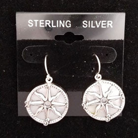 Mother of Pearl Compass Rose Earrings Set in Sterling Silver