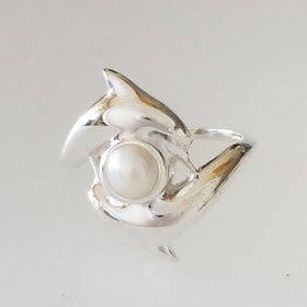 Pearl Sterling Silver Dolphin Duet Ring