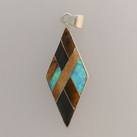 Tiger Eye & Black Onyx Diamond Shaped Pendant Set in Sterling Silver