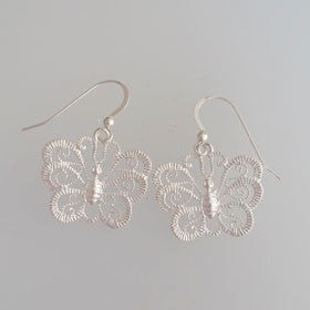 Sterling Silver Butterfly Filigree Earrings
