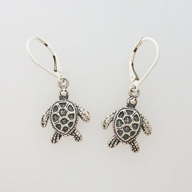 Sterling Silver Oxidized Sea Turtle Earrings