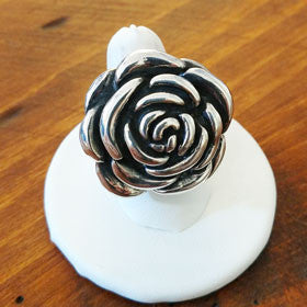 Sterling Silver Rose Ring Large