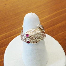 Sterling Silver Frog Ring w/ Red CZ Eyes