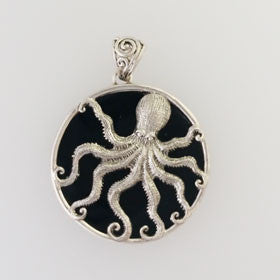 Lava Octopus Pendant Set in Sterling Silver