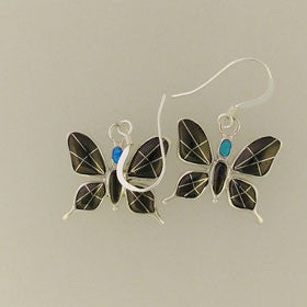 Black Onyx & Turquoise Butterfly Earrings Set in Sterling Silver